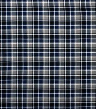 Super Snuggle Flannel Fabric-Blue, Gray & Black Plaid