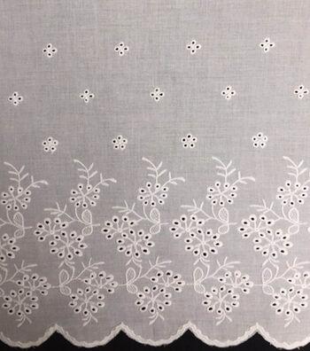 Scalloped Linen Fabric 51''-White