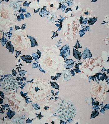 Casa Embellish Gardenia Satin Fabric 57''-Peach & Skin Floral Print