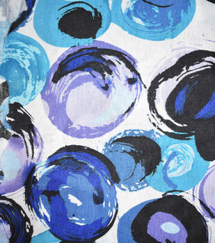 Fast Fashion Rayon Spandex Fabric-Blue Abstract Dots