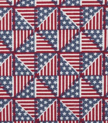 "Patriotic Cotton Fabric 44""-Pinwheel Flags"