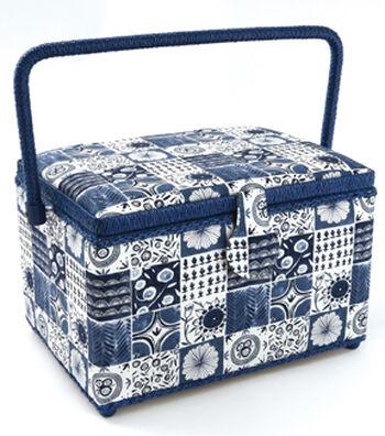 Large Rectangle Sewing Basket-Indigo Tile