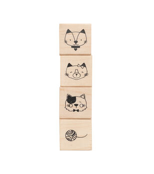 American Crafts Wooden Stamp Set Cats