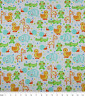 Nursery Flannel Fabric -Happy Jungle Animals White