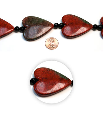 Sulyn Large Resin & Marble Heart Beads Strand-Red