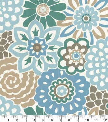"Waverly Sun N' Shade Outdoor Fabric 54""-Button Blooms Tide Pool"