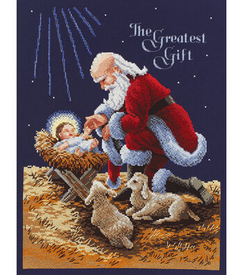 "Kneeling Santa Counted Cross Stitch Kit-11""X14.5"" 14 Count"