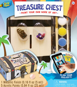 Masterpieces Works Of Ahh Large Wood Paint Kit-Treasure Chest Bank