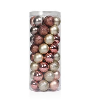 makers holiday christmas 48 pk 30 mm shatterproof ornaments rose gold