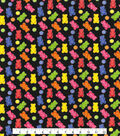 Novelty Cotton Quilt Fabric -Gummy Bears with Glitter