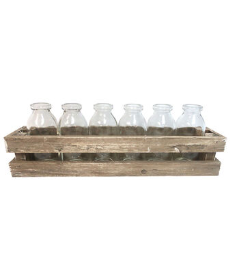 Fresh Picked Spring Glass Bottles in Wood Frame Container