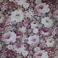 Premium Cotton Fabric-Burgundy & Pearl Packed Garden