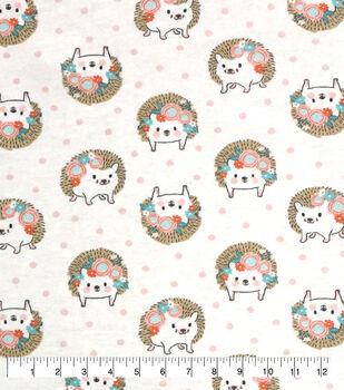 Nursery Flannel Fabric-Hanna White Tossed Hedgehog