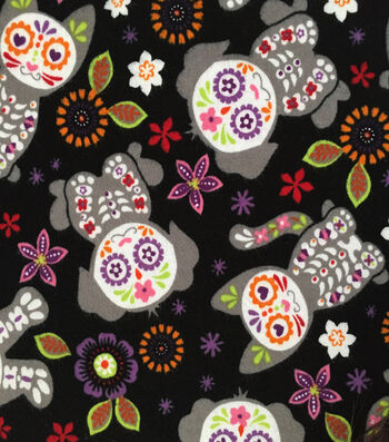 "Doodles Halloween Interlock Cotton Fabric 57""-Day Of The Dead Cats Dogs"
