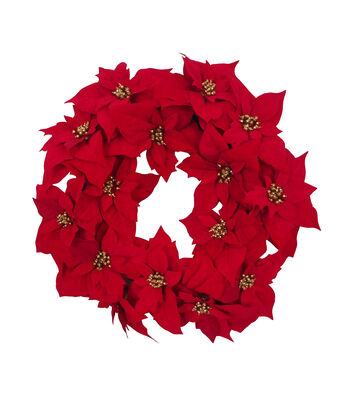 Blooming Holiday Christmas 24'' All Over Poinsettia Wreath-Red