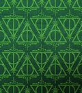 Harry Potter Cotton Fabric 44\u0022-Deathly Hallows Green