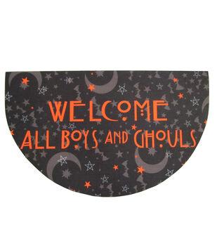 Maker's Halloween Rubber Doormat-Welcome All Boys & Ghouls