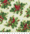 Christmas Cotton Fabric 44\u0022-Cardinal Sitting in Holly