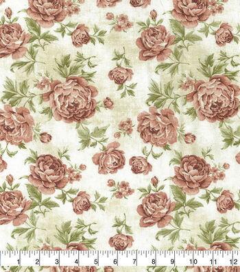 "Premium Wide Cotton Fabric 108""-Large Floral Red & Orange"