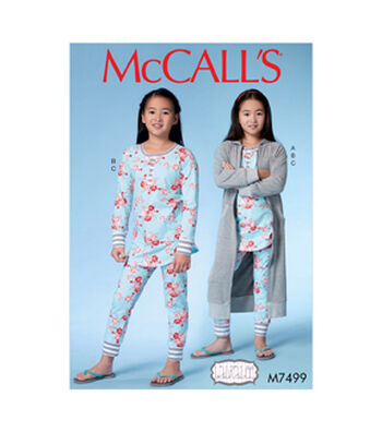 McCall's Pattern M7499 Girls' Robe with Hood, Henley Top & Banded Pants