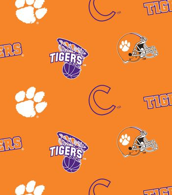 Clemson University Tigers Fleece Fabric -All Over