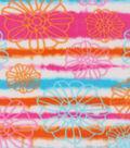 Anti-Pill Fleece Fabric -Stripe Floral Tie Dye