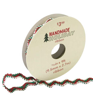 Handmade Holiday Christmas Ribbon 3/8''x9'-Red, White & Green Zigzag