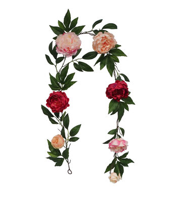 Fresh Picked Spring 66'' Pink Peony with Greenery Garland
