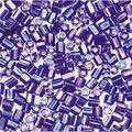 2-Cut Tiny Glass Beads-Dark Blue with Rainbow Effect, 20 grams