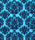 Anti-Pill Fleece Fabric 59\u0022-Peacock Blue Damask