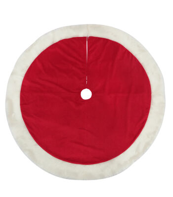 Maker's Holiday Christmas 25''x12'' Velvet Tree Skirt-Red