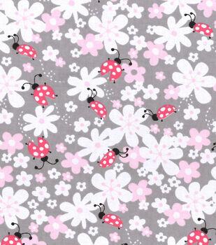 Nursery Flannel Fabric -Lady Bug Floral