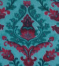 Anti-Pill Fleece Fabric -Joy Damask Red Teal