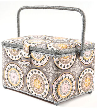 Large Rectangle Sewing Basket-Gray & Pink