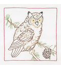 Jack Dempsey Stamped White Quilt Blocks Owl