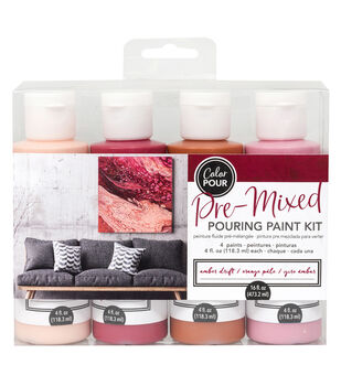 American Crafts Color Pour Pre-Mixed Paint Kit-Amber Drift