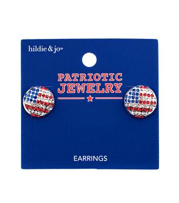 hildie & jo Patriotic Jewelry Round Flag Earrings