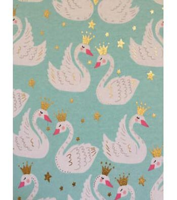 Doodles Juvenile Apparel Fabric 57''-Swan Princess on Aqua