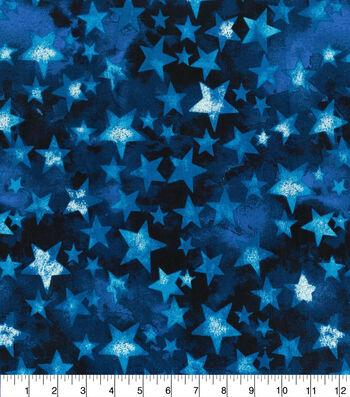 Patriotic Cotton Fabric-Bright Multi Colored Stars on Blue