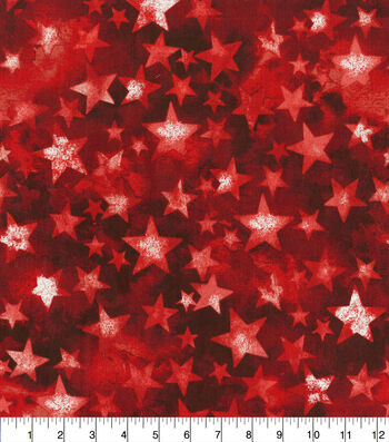 Patriotic Cotton Fabric-Bright Multi Colored Stars on Red