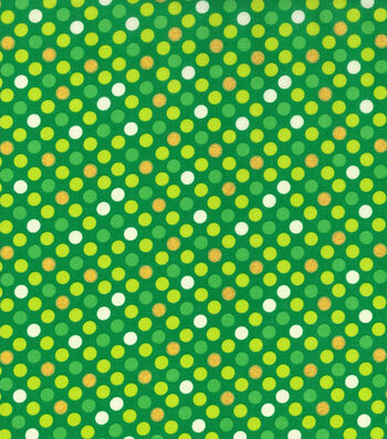 St. Patrick's Day Cotton Fabric -Green Dots Glitter
