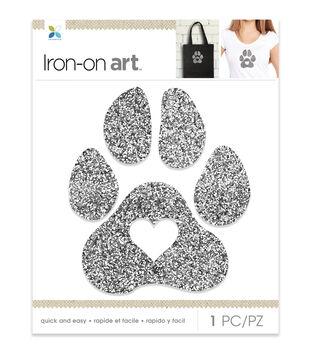Momenta Heart Paw Chunky Glitter Iron-on Art-Silver