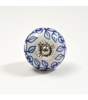Dritz Home Ceramic Delft Ball Knob-Blue