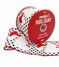 Maker\u0027s Holiday Christmas Ribbon 2.5\u0027\u0027x25\u0027-Santa with Polka Dots