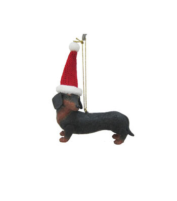 Maker's Holiday Christmas Dachshund with Hat Ornament