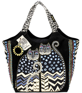 Laurel Burch Large Scoop Tote with Zipper Top-Spotted Cats