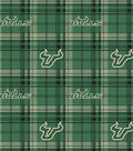 University of South Florida Bulls Fleece Fabric -Plaid