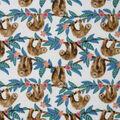 Anti-Pill Plush Fleece Fabric-Floral Hanging Sloth