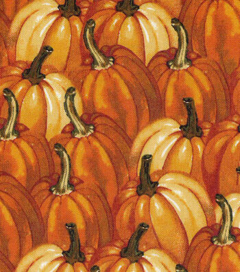 Harvest Cotton Fabric-Packed Watercolor Pumpkins