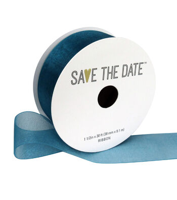 """Save the Date 1.5"""" x 30ft Ribbon-Teal Sheer"""